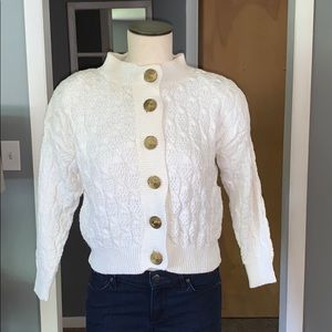 Chunky Wool vintage cardigan gold buttons xs